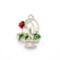 Pandantiv metalic cu coș de perle cu ghiocel și gărgăriță 26,5x17x5 mm gaură 2 mm culoare argintiu -2 bucăți