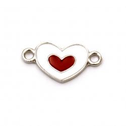 Element de legătură metal inimă alb și roșu 22x11x2 mm orificiu 2 mm culoare argintiu - 2 bucăți