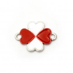 Element de legătură trifoi metalic alb și roșu 22x16,5x2 mm orificiu 1,5 mm culoare argintiu -2 bucăți
