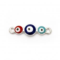 Свързващ елемент метал очички 26x7.5x4 мм дупка 1. 5 мм цвят сребро -2 броя
