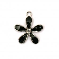 Висулка метал с кристал цвете синьо 20x18x3 мм дупка 1.5 мм цвят сребро -2 броя