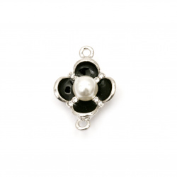 Metal connecting element flower with crystals and pearl 25x17x8 mm hole 1.5 mm color silver - 2 pieces
