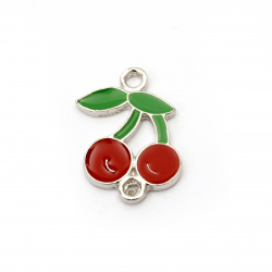 Connecting metal element in the shape of cherries 22x15x2 mm hole 1.5 mm color silver - 2 pieces