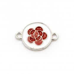 Свързващ елемент метал роза бяло и червено 23x16x2 мм дупка 1.5 мм цвят сребро -2 броя