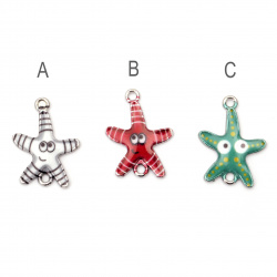 Fastener metal starfish with face 23x16x2 mm hole 1.5 mm color silver - 2 pieces