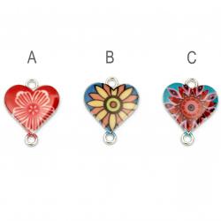 Σύνδεσμος μεταλλικός καρδιά με λουλούδι 20x16x2,5 mm τρύπα 1,5 mm χρώματος ασημί -2 τεμάχια