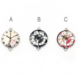 Element de conectare ceas metalic 24x18x4 mm orificiu 1,5 mm culoare argintiu -2 bucăți