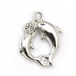 Висулка метал цинкова сплав с кристали делфини 32x27x8 мм дупка 3 мм цвят бял