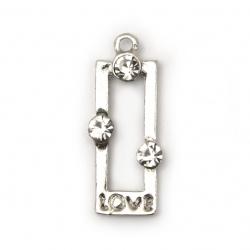 Висулка метал цинкова сплав с кристали правоъгълник 30x13x4 мм дупка 1.5 мм цвят сребро -2 броя