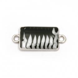 Element de legătură metal dreptunghi alb și negru 25x11x3 mm orificiu 2 mm culoare argintiu -5 bucăți