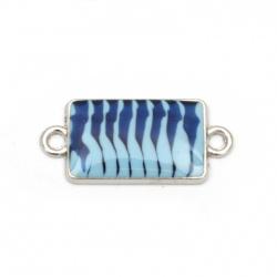 Свързващ елемент метал правоъгълник син 25x11x3 мм дупка 2 мм цвят сребро -5 броя