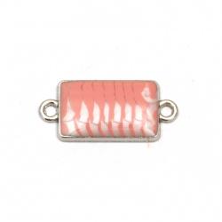 Свързващ елемент метал правоъгълник бяло и розово 25x11x3 мм дупка 2 мм цвят сребро -5 броя