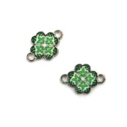 Свързващ елемент метал детелина зелена 15x10x2 мм дупка 2 мм цвят сребро -5 броя