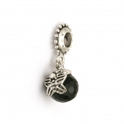 Art pendant metal zinc alloy with black faceted ball 25x11x10 mm hole 5 mm color silver