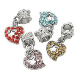 Art heart charm with colorful crystals, Pandora type 11x25 mm hole 4.8 mm colored