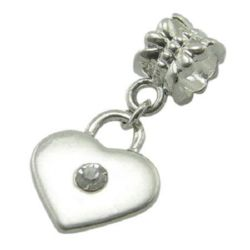 Art heart pendant with crystal for DIY accessories 13.5x26 mm hole 5 mm