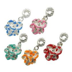Art colorful flower charm  with small crystals, fits Pandora type bracelets 14x29x7 mm hole 4 mm