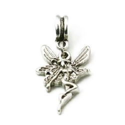 Metal jewellery charm fairy 33 mm