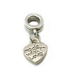 Висулка АРТ метал сърце 22 мм дупка 5 мм цвят сребро