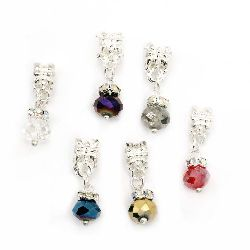 Art charm, metal element with colorful crystal 25x8 mm hole 4 mm assorted colors