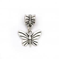 Висулка АРТ метал пеперуда 11.5x15.5x1.5 мм дупка 5 мм цвят сребро