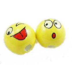 Porcelain Beads, Round, Smile, 12mm, hole 2mm, 4 pcs