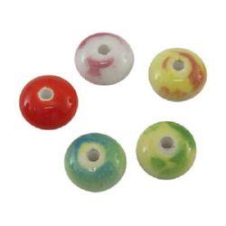 Șaibă portelan 12x7 mm gaură 3 mm culoare MIX -10 bucăți