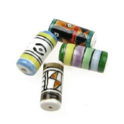 Porcelain Beads, Cylinder, Handmade, Mixed color, 21x9x9mm, hole 2mm, 4 pcs