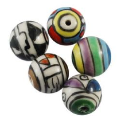Porcelain Beads, Round, Handmade, Mixed color,  14mm, hole 2mm, 5 pcs
