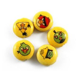 Porcelain Beads, Flat Round, Angry Birds, 20x10mm, hole 2mm, 5 pcs