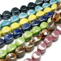 Porcelain Beads, Round, Mixed Color, 20~22x18~19mm, 3 pcs