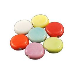 Porcelain Beads, Flat Round, Mixed color, 16.5x6mm, hole 1.5mm, 4 pcs