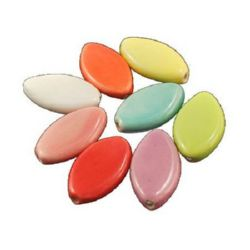 Porcelain Beads, Oval, Mixed color, 23x13x5mm, hole 2mm, 4 pcs
