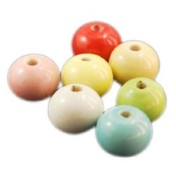 Porcelain Beads, Round, Mixed color, 11x9mm, hole 2mm, 4 pcs