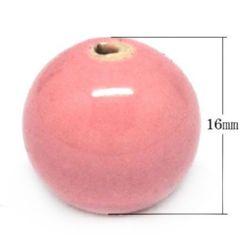 Топче порцелан 16 мм дупка 2 мм розово -4 броя
