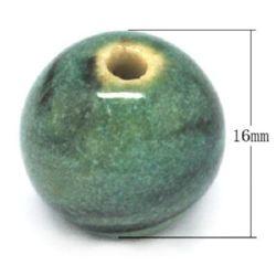 Топче порцелан 16 мм дупка 2 мм меланж зелено -4 броя