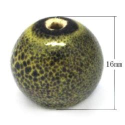 Топче порцелан 16 мм дупка 2 мм напръскано зелено -4 броя