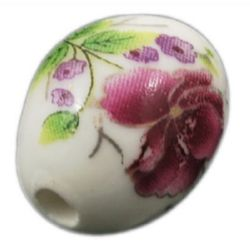 Porcelain Beads, Oval, Painted, White, 18x14mm, hole 2.5mm, 5 pcs