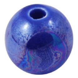 Bila de porțelan 12 mm gaură 2 mm albastru perlat -5 bucăți
