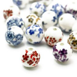Porcelain Beads, Round, Painted, Mixed color, 12mm, hole 2mm, 5 pcs