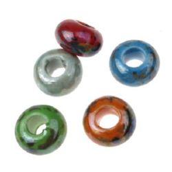 Шайба порцелан 15x10 мм дупка 6 мм цвят МИКС -5 броя