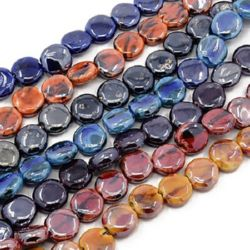 Наниз порцелан рисуван паричка 15~17x16~17x7 мм дупка 3 мм перлен АСОРТЕ ръчна изработка ~25 броя