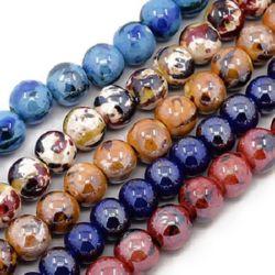 Наниз порцелан рисуван топче 14 мм дупка 3 мм перлен АСОРТЕ ръчна изработка ~29 броя