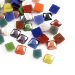 Porcelain beads for gluing  6 х 6 х 3 mm MIX
