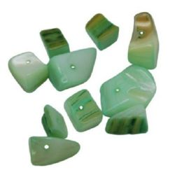 Bead mother-of-pearl 6 ~ 8x8 ~ 10x7 ~ 10 mm hole 2 mm light green -50 grams ~ 64 pieces