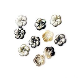 Bead mother-of-pearl flower 10x10x2.3 hole 1 mm MIX - 1 pieces