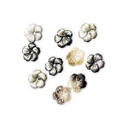 Мънисто седеф цвете 10x10x2.3 дупка 1 мм МИКС - 1 броя