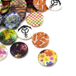 Bead mother-of-pearl money painted 20x3.5 hole 0.8 mm MIX - 5 pieces