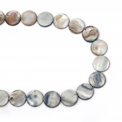 Наниз седеф паричка 20x2~5 мм дупка 1 мм цвят сив ~20 броя