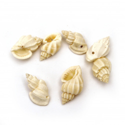 Sea Shells 16 ~ 21x8 ~ 12x7 ~ 9mm, Hole 1mm, color White ~ 50g